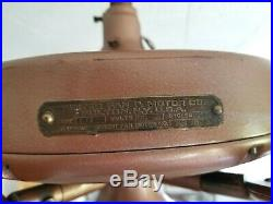 100 Year Old Gilded Copper Hunter C17 Antique Electric 52 Ceiling Fan-vintage
