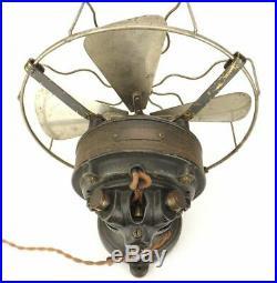 12 Antique DHR Interior Conduit/Lundell Sprague Electric Desk Fan Brass German