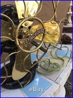12 Westinghouse Brass fan Brass Blade Tank Antique electric restored amazing
