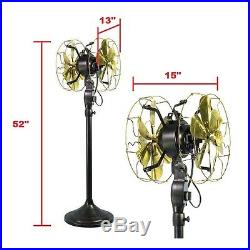 12Electric Floor Fan Double Sided Oscillating Brass Blade Vintage Antique Style