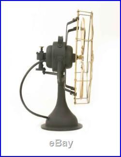 16 Blade Electric Desk Fan Oscillating Orbit Works Vintage Metal Brass Antique