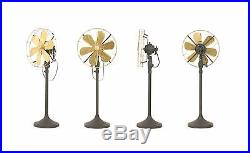 16 Blade Electric Floor Stand Fan Oscillating Vintage Metal Brass Antique style