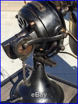 1901 GE Antique Fan Vintage GE Sidewinder Fan Brass Blade & Cage