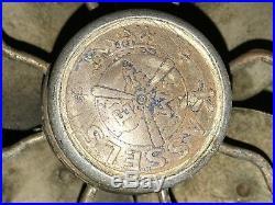 1910s M E I KASSELS ANTIQUE CAST IRON BRASS VINTAGE CEILING WALL BALL MOTOR FAN