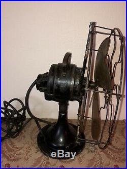 1914 Antique Century Fan Brass Blades 12 Industrial 3 Speed Oscillates Works