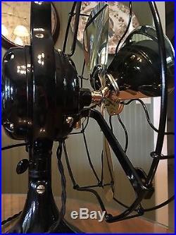 1920 Antique GE 12 Brass Blade Bell Oscillator General Electric Fan RESTORED