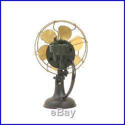 6 Blade Electric Table Fan Oscillating Orbital Work Vintage Metal Brass Antique