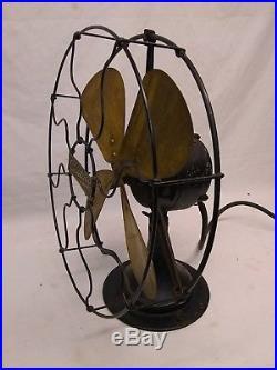 ANTIQUE 12 CENTURY BRASS BLADE ELECTRIC DESK FAN MODEL 240 Working Vintage Old