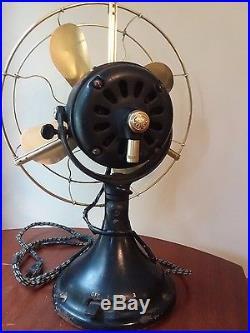 ANTIQUE! 1911 (12) GE General Electric Brass Bladed 3 Speed Fan Working