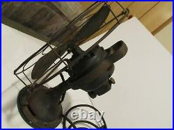 ANTIQUE 1920's GE GENERAL ELECTRIC FAN 12 BRASS BLADES OSCILLATING FAN