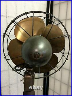 ANTIQUE ART DECO EMERSON ELECTRIC FAN 6250AF ORIGINAL IRON STAND with BRASS BLADES