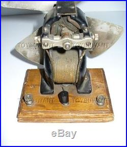 Antique Cast Iron Voltamp Electric Fan Model Motor Toy Volt Amp Wood Base Device