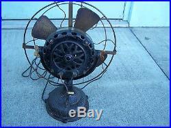 Antique Electric Fan Ge Pancake Fan Fully Ribbed Base Stick Model Brass C&b