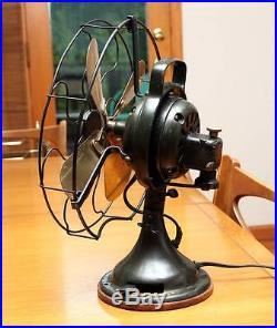 ANTIQUE GE General Electric Dark Hunter Green FAN, BRASS BLADE, crica 1920's