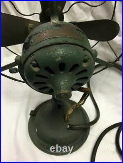ANTIQUE General Electric GE ELECTRIC FAN 13 BRASS BLADES CAST IRON BASE #829451