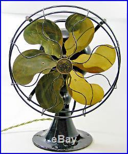 Antique Restored Emerson Model 27266 Brass Parker Blade Electric Table Fan