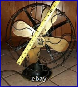 ANTIQUE ROBBINS & MYERS FAN 3 SPEED Brass Blade OSCILLATING model 2410 vtg R&B