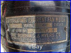 AWESOME ANTIQUE ROBBINS & MYERS BRASS BLADE & CAGE FAN Model# 1404 3 speed fan