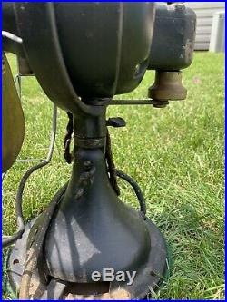 Antique 12 1921 General Electric Form W1 Cat 75423 3 Speed Desk Fan Brass Blade