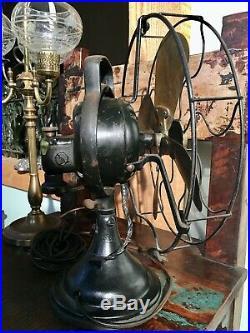 Antique 12 Brass 4 blade GE Electric 1920's Bell Oscillator Fan