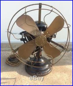 Antique 12 GE General Electric Brass Blade Cage Fan 1st Oscillator Side Gear