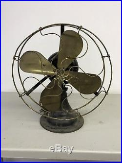 Antique 12 Peerless Or Colonial Front Oscillator Brass and Brass Electric Fan