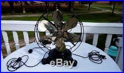 Antique 12 R&M US Navy Fan Vintage 1917 BRASS 6 BLADE