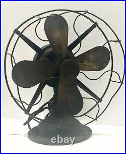 Antique 12 Robbins & Myers Brass Blade Fan No. 2203 R&M For Parts or Restore