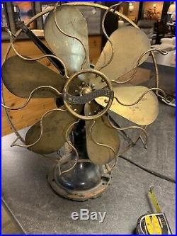 Antique 12 Six Brass Blade Westinghouse Multi Speed Oscillating Fan Circa 1919