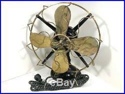 Antique 12 in. Westinghouse Brass 4 Blade Wavy Cage Fan Model 162628 Works
