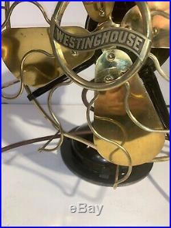 Antique 12 in. Westinghouse Brass Blade Electric Fan, Model 162628 1 speed