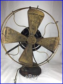 Antique 16 GE Pancake Brass Blade Fan