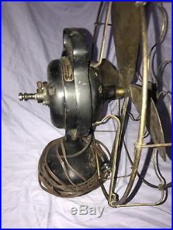 Antique 16 General Electric Pancake Pat 1901 Brass Blade brass cage Fan WORKS