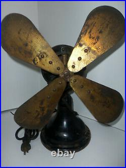 Antique 16 Robbins & Myers Original Brass 4-Blade 110 Volt Fan No 1159 HEAVY