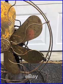 Antique 17 GE General Electric Brass Blade Cage Fan Oscillator