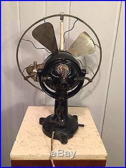 Antique 1900 Italian Maffettini ornate 10 brass blades brass cage electric fan