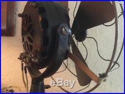 Antique 1906 GE General Electric Pancake 12Brass Blade & Cage Runs Well