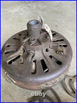 Antique 1909 General Electric Ceiling Fan CAST IRON Ornate DIRECT CURRENT USA