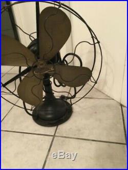 Antique 1914 Century Brass Blade Fan 16 Runs Well n Oscillates Fancy Grill A1
