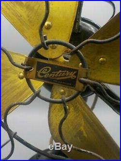 Antique 1914 Century Electric 10 Brass Blade Fan #250 Untested Parts Repair
