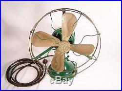 Antique 1917 to 1919 G. E. Cat. 34017, AUU Brass Blade Fan. NICE