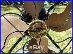Antique 1919 Vintage Emerson Brass Blade Electric Fan Model 26646 3-Speed Works