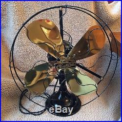Antique 1920 Century 5 speed 16 oscillating brass blade fan restored