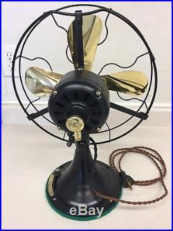 Antique 1920's General Electric GE 12 brass blade fan