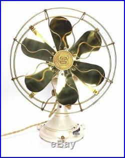 Antique 1920's Safety Car Company 32v DC Brass Desk Fan