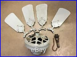 Antique 1920s 30s Westinghouse Electric Ceiling Fan Baby Blue 36 w Light USA