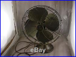 Antique 1920s Emerson Electric Fan Type 6250- D Brass Blades Oscillating Works