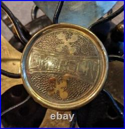 Antique 1921 Working Emerson Brass Blade Fan Oscillating 3 Speed 12 27646