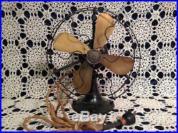 Antique 1924 General Electric GE Whiz WHIZ 4 Brass Blade Fan WORKS GREAT