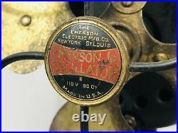 Antique 1926 9 Emerson Jr Oscillating Desk Fan Running